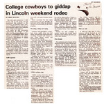 College cowboys to giddap in Lincoln weekend rodeo by Mike Minford