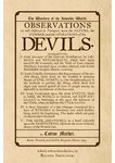 The Wonders of the Invisible World. OBSERVATIONS As well Historical as Theological, upon the NATURE, the NUMBER, and the OPERATIONS of the DEVILS.